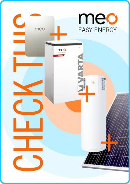 Aktionspaket: meo BOX, Fotovoltaik, Batteriespeicher und Brauchwasser-Wärmepumpe